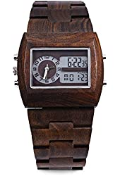 Gearbest BEWELL ZS-W021A Bamboo Wooden Men Quartz Watch with Double Movement Luminous Display