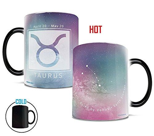 Morphing Mugs Birthday Zodiac Sign (Taurus) Heat Reveal Ceramic Coffee Mug - 11 Ounces Pink (Zodiac Mug)