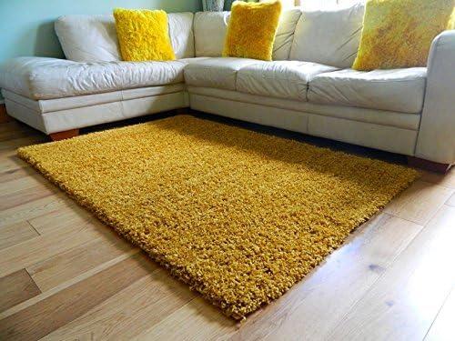 Modern Mustard Yellow Gold Ochre Small Large Living Room Area Plain Shaggy Rug