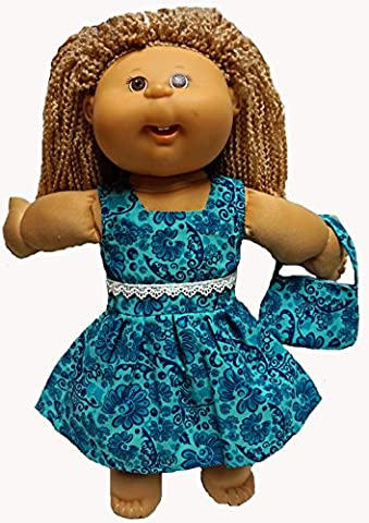 Pretty Blue Print Doll Dress With Purse Fits Cabbage Patch Kid Dolls - Purse Doll Clothes