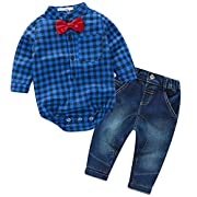 2 Pieces Baby Boys Gentleman Bowtie Plaid Shirt and Denim Pants Outfit Set, Blue, 0-6 Months