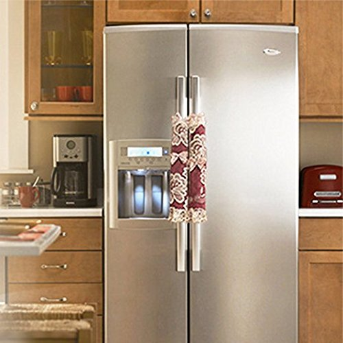 Lace Washable - Beyonder 2X Lace Refrigerator Fridge Microwave Ovens Microwave Dishwasher Dust Door Handle Cover,Keep Your Home Kitchen Appliance Handle Decoration Clean From Drips,Dust,Smudges (Long, Wine Red)