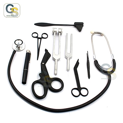 GS-SOLID-BLACK-FIRST-AID-KIT-DIAGNOSTIC-EMT-NURSING-STUDENT-PARAMEDIC-BEST-QUALITY