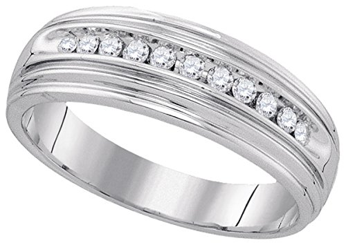 Jewels By Lux Sterling Silver Mens Round Diamond Wedding Band Ring 1/4 Cttw Ring Size (Gents Diamond Wedding Ring)