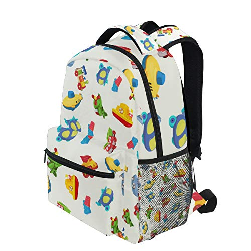 KVMV Seamless Pattern Airplane Boat Ship Helicopter Lightweight School Backpack Students College Bag Travel Hiking Camping Bags ()