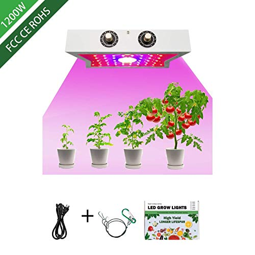 1200W LED Plant Growing Lamps COB Full Spectrum Growing Lamps Adjustable 4 Brightness,Indoor Grow Lights for Greenhouse Basement Planting Veg Flower Plants 1200W