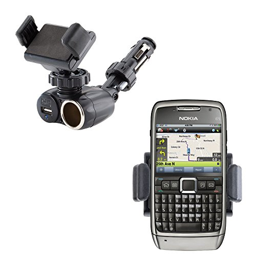Unique Auto Cigarette Lighter and USB Charger Compact Mounting System Includes Adjustable Holder for the Nokia E71 E71x E75 (Phone E71x)