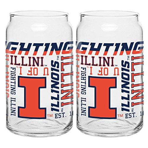 Illinois Illini Glass Fighting (NCAA Illinois Fighting Illini Spirit Glass Can, 16-ounce, 2-Pack)