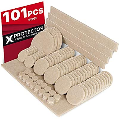 X-PROTECTOR Premium CLASSIC Pack Furniture Pads 101 piece! Furniture Feet Felt Pads – Your Best Value Pack Wood Floor Protectors. Protect Your Hardwood & Laminate Flooring with 100% Satisfaction!