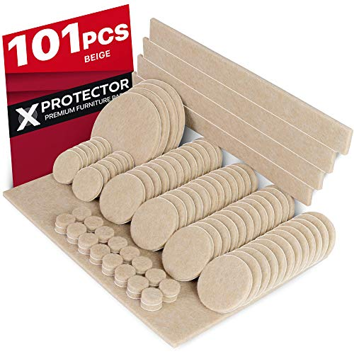 X-PROTECTOR Premium Pack Furniture Pads 101 Piece! Furniture Feet Felt Pads - Your Best Value Pack Wood Floor Protectors. Protect Your Hardwood & Laminate Flooring with 100% ()