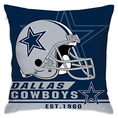 Marrytiny Custom Pillowcase Colorful Dallas Cowboys American Football Team Linen Bedding Pillow Covers Pillow Cases for Sofa Bedroom Bedding Car Home Decorative - 18x18 Inches