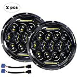 LED Headlight for Jeep Wrangler AAIWA 7' 75W Round LED Headlamp with Daytime Running Light DRL High Low Beam for Jeep Wrangler JK TJ LJ Motorcycle with H4 H13 Adapter,2PCS,2 Years Warranty