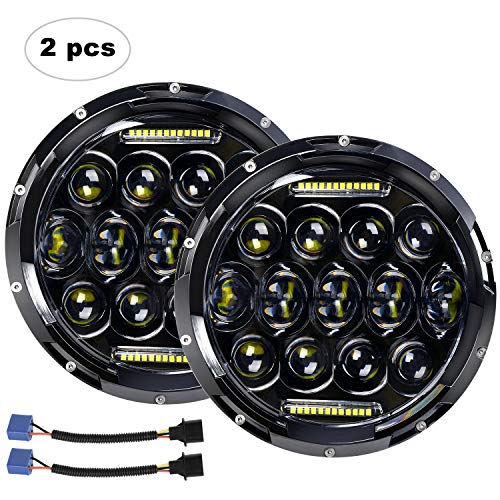 "LED Headlight for Jeep Wrangler AAIWA 7"" 75W Round LED Headlamp with Daytime Running Light DRL High Low Beam for Jeep Wrangler JK TJ LJ Harley Motorcycle with H4 H13 Adapter,2PCS,2 Years Warranty"