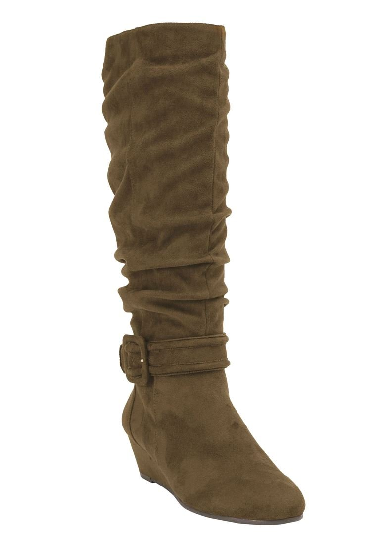 Comfortview Women's Plus Size Bodhi Tall Calf Boots B074Y8QHN5 7.5 C/D US|Olive