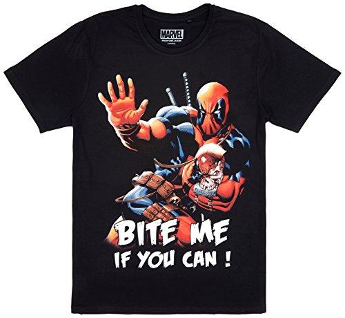 Deadpool Marvel T-Shirt Bite Me If You Can Baumwolle schwarz - L