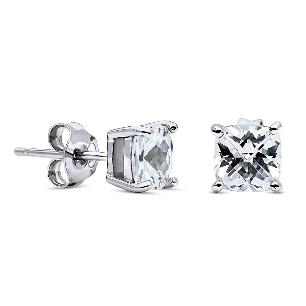 10k Real White Gold 3.00 Ct Princess Cut Simulated Diamond Solitaire Stud Earrings