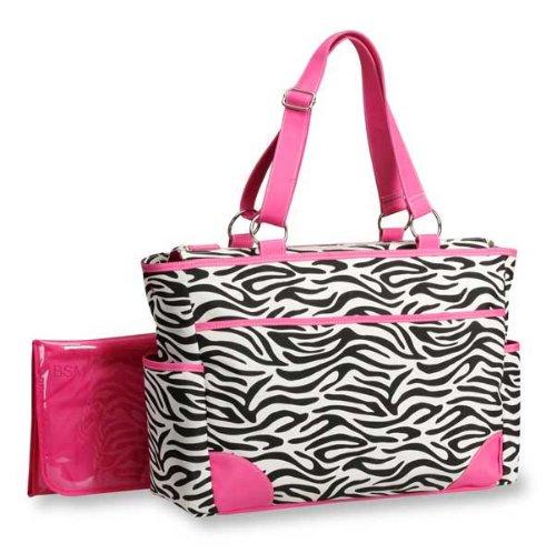 Pink Accented Animal Print Diaper Bag - Zebra