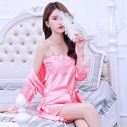 Wanyne Section Embroidered Strap Dress XL Gowns Set Dress Ladies Lace Strap with Size 2pcs Red Gowns Thin Champagne with Dressing Dressing Color BFxpr0B
