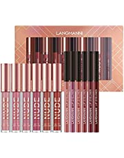 12PCS Set de maquillaje de lápiz labial, 6 lápices labiales líquidos mate y 6 delineadores de labios, clásico, impermeable, duradero, suave, completo, color, brillo, maquillaje para niñas y mujeres