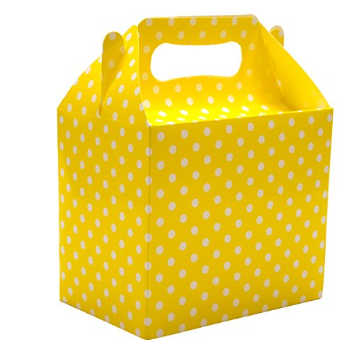 10 Yellow Polka Dots Spots Children's Birthday Party Colored Paper Lunch Loot Gift Boxes