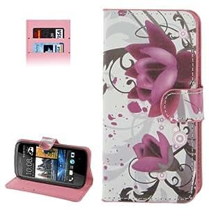 Purple Flower Pattern Case Cover Funda con Tapa Credit Card Holder Slots & Para HTC Desire 500, Color Blanco