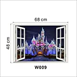 3D Ancient Princess Castle Window View Decal Wall Sticker Home Decor Wall Stickers For Kids Room Decals Kids Decor^as the picture.