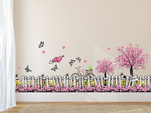Amazon Brand – Solimo Wall Sticker for Living Room (Pink Floral Picket Fence with Butterflies, Ideal Size on Wall: 105…
