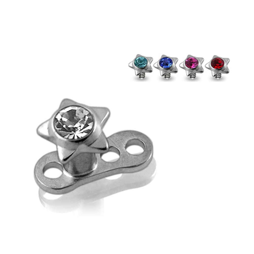 Buy 1 Get 5 !!! G23 Grade Titanium Base with 5 Pieces Changeable 316L Surgical Steel Top Dermal Jeweled Star All Color As Shown.