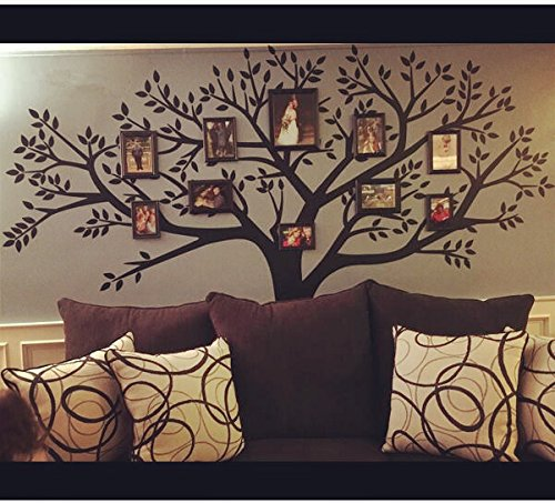 LSKOO Family Photo Frame Tree Wall Decals Family Tree Decal Living Room Home Decor (108'' Wide x 84'' Tall) (Black) by LSKOO (Image #2)