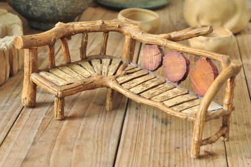 Top Collection Enchanted Story Fairy Garden Long Faux Wood Bench
