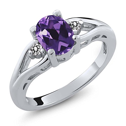 (Gem Stone King Amethyst and White Diamond 925 Sterling Silver 3-Stone Women's Ring (1.16 Cttw Oval Gemstone Birthstone Available 5,6,7,8,9) (Size 5))