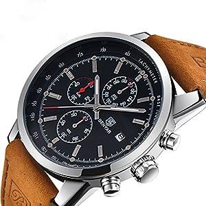 YaoWen Men's Fashion Business Quartz Watch with Leather Band Classic Wrist Watches Waterproof Wristwatches