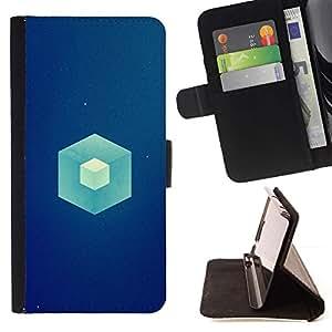 Momo Phone Case / Flip Funda de Cuero Case Cover - Cubo Azul;;;;;;;; - Samsung Galaxy Core Prime