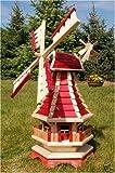 Große Windmühle mit Beleuchtung Solar, Solarbeleuchtung, Windmühlen kugelgelagert 1,0 m