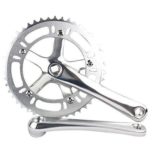 Crank Fixed - SENQI 46T Single Speed Fixed Gear Crankset Cranks (Silver)