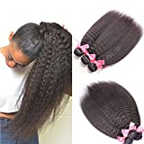Sunwell Brazilian Virgin Kinky Straight Hair Weave 1 Bundle Italian Yaki Human Hair Extensions Can Be Dyed Natural Color - Natural Black, 18