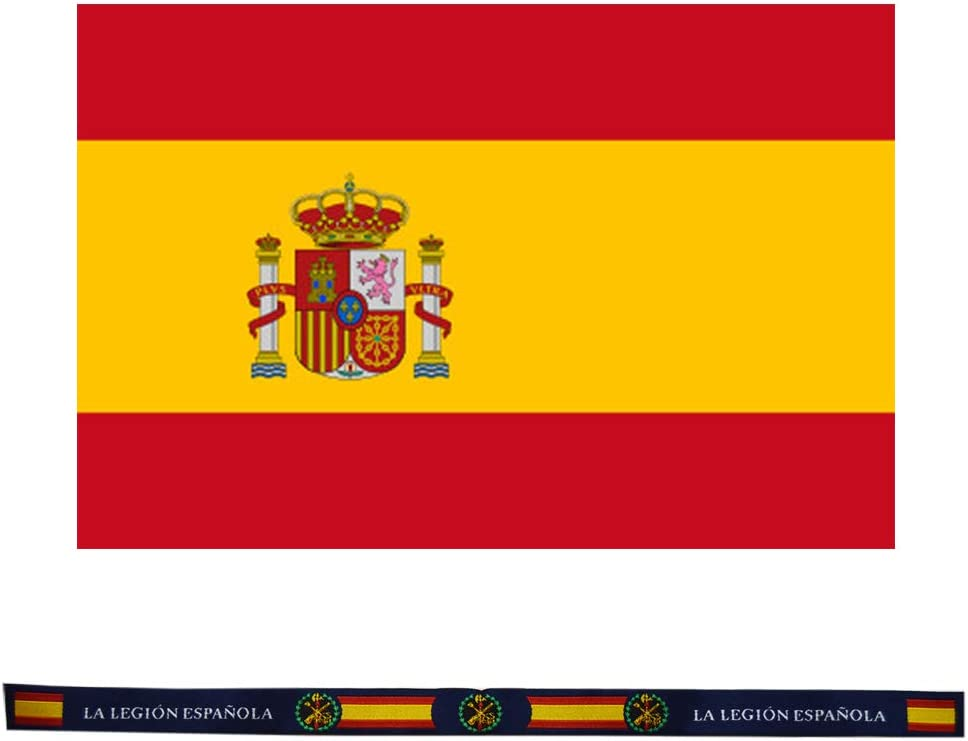 ALBERO Pack Bandera de España Tela 90 x 120 cm y Pulsera Tela Legión Española 30 x 1.50 cm.: Amazon.es: Hogar