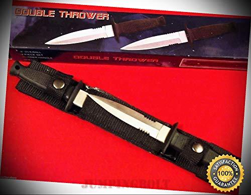 (Double Defense 210233 Black Rubber handle 2 pc dagger belt knives 7'' overall - Knife for Bushcraft EMT EDC Camping Hunting)