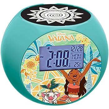 LEXiBOOK Disney Moana Vaiana Maui Radio Projector Clock, Sound Effects, Battery-Powered, Blue/Orange, RL975VN