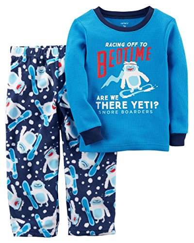 Carter's Boys' 12M-14 2 Piece Racing to Bedtime Yeti Fleece Pajamas 3T