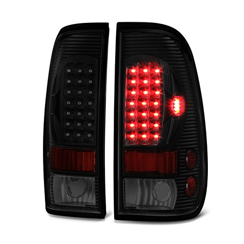 - VIPMOTOZ LED Tail Light Lamp Assembly For 1997-2003 Ford F-150 & 1999-2007 Ford Superduty F-250 F-350 Pickup Truck - Matte Black Housing, Smoke Lens, Driver and Passenger Side