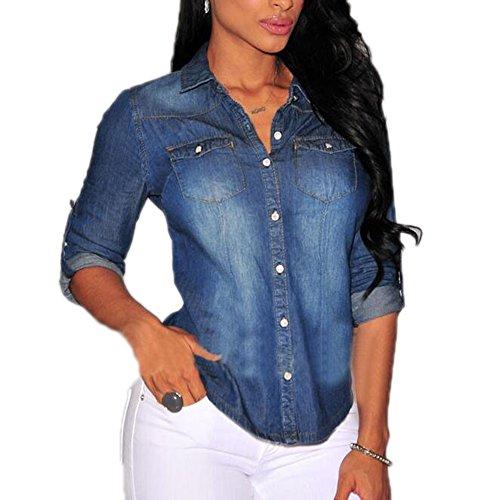Lavato Vintage A Hellomiko Da Blu Camicie Chiaro Maniche Donna Slim Lunghe Jeans Scuro Pullover 6qxxw8T
