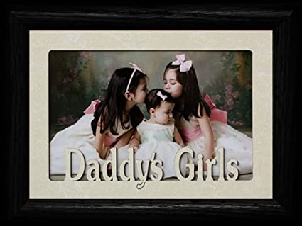 5x7 daddys girls landscape cream mat with black picture frame holds a 4x6 or
