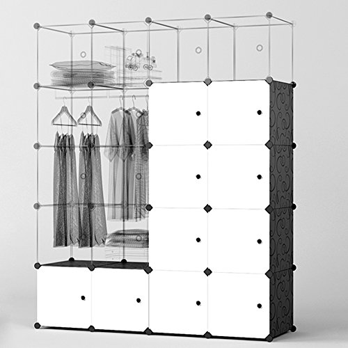 megafuture portable wardrobe for hanging clothes combination armoire modular cabinet for space. Black Bedroom Furniture Sets. Home Design Ideas