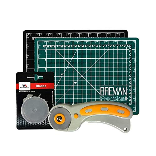 (Rotary Cutter & Self Healing Mat Set – Professional 9x12 Double Sided Cutting Mat with Rotary Plus 5 Replacement Blades Making The Ultimate Arts & Crafts Kit for Sewing Quilting & Much More)