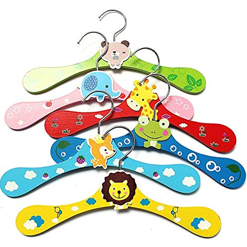 (Ocamo Children's Hangers,Kids and Baby Wooden Colorful Animal Shaped Clothes Hangers)
