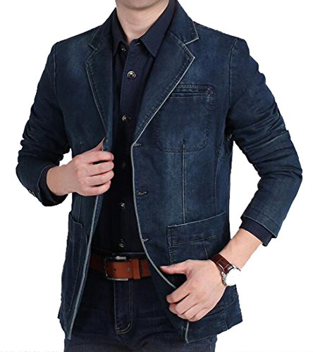 MK988 Mens Casual 3 Button Washed Denim Blazer Jacket Sport Coat Dark Blue XL