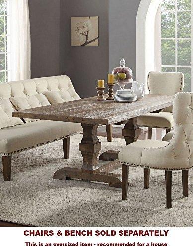 Acme Furniture Inverness Double Pedestal Dining Table, Salvage Oak Double Pedestal Oak Table