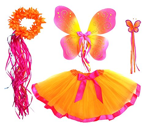 Girls Orange and Hot Pink Fairy Costume with Wings, Wand, Halo Age 3-8