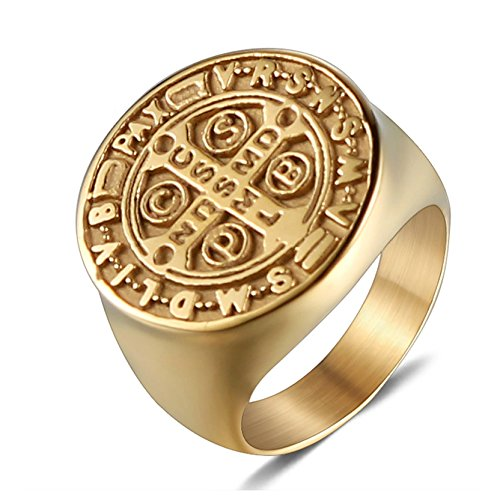 AMDXD Jewelry Cross Rings for Men Stainless Steel Cross Engraved Gold Rings Size 8 ()